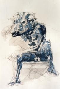Minotauro, 1996, inchiostro su carta