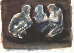Colloquio, s.d., tecnica mista su carta, 20x29 cm