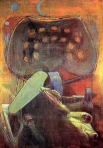 Falciatrice, 1976, olio su tela, 96x64 cm