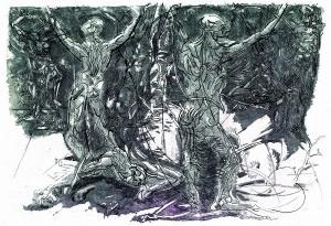 La selva dei suicidi, 1997, acquaforte acquatinta, 34x50 cm
