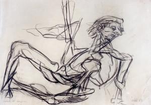 Caduta del campione, 1965, carbone su carta, 24x34 cm