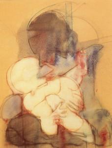 Maternità Cavallo, 1970, olio su tela, 100x80 cm