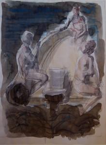 Tre figure, s.d., acquarello su carta, 27,5x20,5 cm