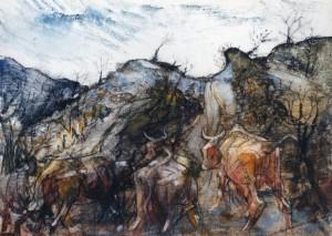 Tre vacche alle lesaie, 1977, olio su tela, 25x35 cm