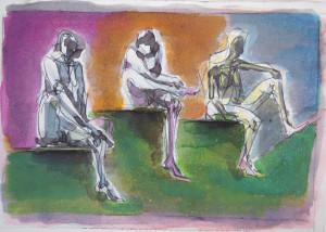 Figure su tre piani, s.d., tecnica mista su carta, 37x26 cm