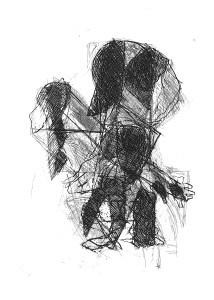 Giovanni impara a camminare (dalla Comadre), 1970-84, acquaforte, 24x17 cm