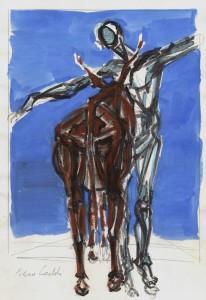 Studio per Bertoldo, s.d., tecnica mista su carta, 24x16,5 cm