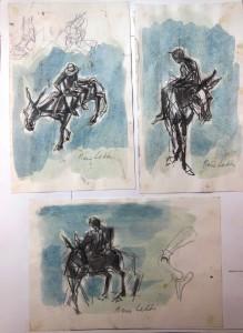 Tre studi per Bertoldo, s.d., tecnica mista su carta, 15x10,15x10, 10x15 cm