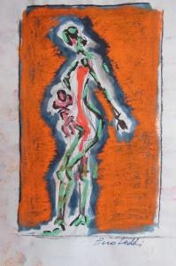 Studio per la Contadina, 2012, tecnica mista su carta, 21x14 cm