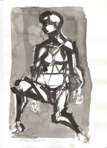 Figura seduta, s.d., inchiostro su carta, 29,5x21 cm