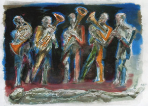Banda di Castagneto, 2000, carbone e acquarello su carta, 35x50 cm