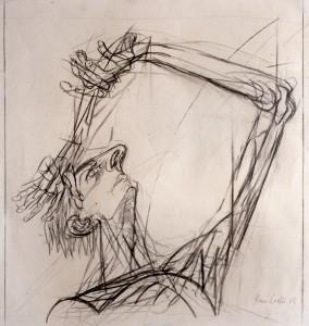 Caduta, 1965, carbone su carta, 50x47 cm