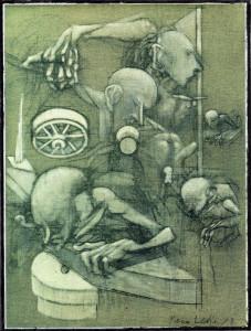Falegnameria, 1973, olio su tela, 40x30 cm