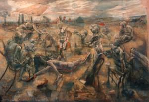 Festa sul Ticino, 1976-78, olio su tela, 120x280 cm