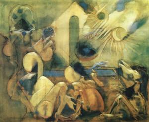 Il miracolo della bambina, 1973, olio su tela, 140,5x170,5 cm