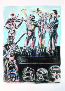 Suonatori s.d., litografia a colori, 70x50-cm