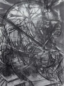 Uomo-aratro, 1965, carbone e pastello su carta, 100x70 cm