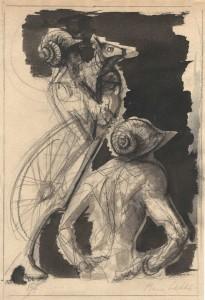 Lumache in testa, 2000, matita e inchiostro su carta, 26x18 cm