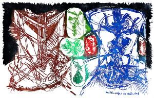 Metamorfosi dei contadini, 1965, acquaforte acquatinta a colori, 33x50 cm