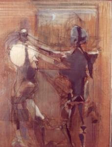 Alterco, 1973, olio su tela, 100x75 cm
