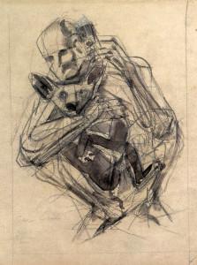 Cane e telefono, 2000, carbone e inchiostro su carta