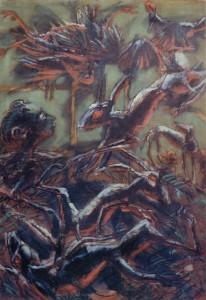 Il sogno della caccia, 1965, olio su tela, 174x125 cm