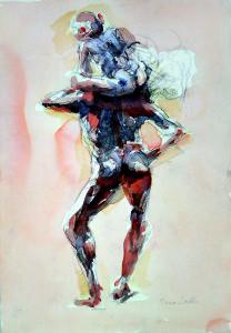 A cavalluccio, 2000, matita e acquarello su carta, 50x35 cm