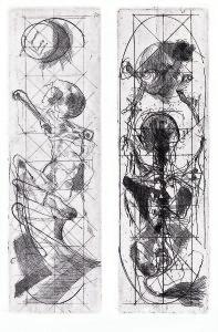 Dittico dei contadini, 1973, acquaforte su due lastre, 32x10 cm