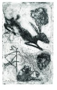 Il sogno della caccia, 1966, acquaforte acquatinta, 49x30 cm