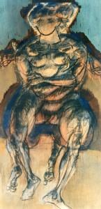 De natura et differentiis IX, 1983, tecnica mista su legno, 41x21 cm