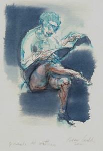Giornale del mattino, 2001, matita e acquarello su carta, 18x12,5 cm