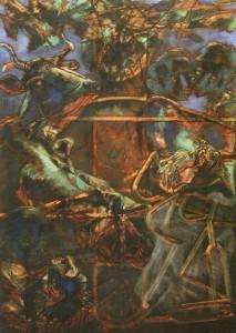 L'abbraccio dei fratelli, 1965, olio su tela, 173x124 cm