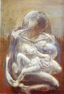 Maternità, 1973, olio su tela, 120x80 cm
