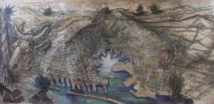 Toro-Europa, 2006, carbone e tempera su carta, 130x270 cm